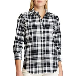Chaps Womens 3/4 Sleeve Plaid Shirt
