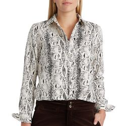 Chaps Womens Snakeskin Long Sleeve Jamie Blouse