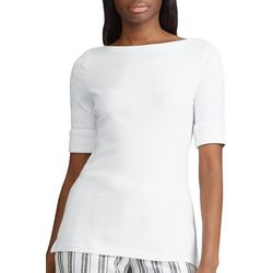 Chaps Womens Fitted Boat-Neck Top