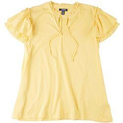 Chaps Womens Ruffled Sleeves Mandarin Neckline Top