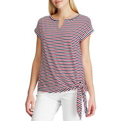 Chaps Womens Split Neck Americana Stripes Top