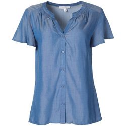 Coral Bay Womens Solid Chambray Smocked Button Down
