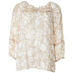 Coral Bay Womens Floral Print Split Neckline Peasant Top