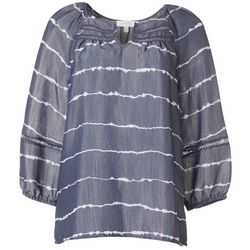 Womens Horizontal Stripe Peasant Top