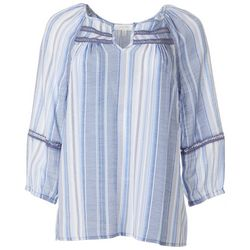Coral Bay Womens Vertical Stripe Split Neckline Peasant Top