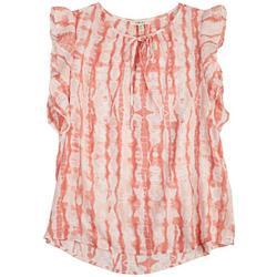 Womens Tie-Dye Ruffly Sleeveless Top