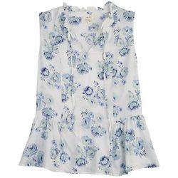 Como Blu Womens Blue Floral Ruffle Neck Top