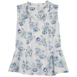 Womens Blue Floral Ruffle Neck Line Top
