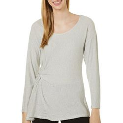 Womens Solid Shimmer Twist Front Round Neck Top