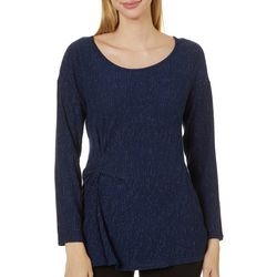 Como Blu Womens Solid Shimmer Twist Front Round Neck Top