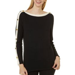 Womens Solid Button Detail Boat Neck Top