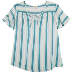 Como Blu Womens Striped Short Sleeve Top