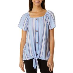 Womens Striped Faux Button Down Flutter Sleeve Top