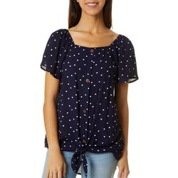 Womens Dotted Faux Button Down Flutter Sleeve Top