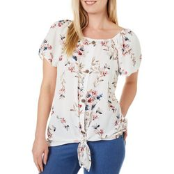 Womens Floral Tie Front Short Sleeve Top