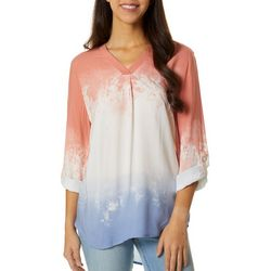 Como Blu Womens Ombre Print Roll Tab Sleeve Top