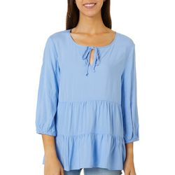 Como Blu Womens Solid Eyelet Detail Split Neck