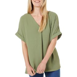 Como Blu Womens Solid V-Neck Short Sleeve Top