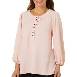 Coral Bay Womens Solid Round Neck Peasant Top