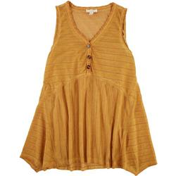 Womens Tank Top Button Features Baby Doll Fit