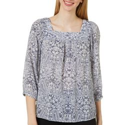 Womens Paisley Print Square Neck Top
