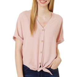 Como Blu Womens Solid Button Down Tie Front Dolman Top