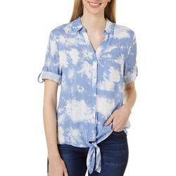 Como Blu Womens Tie Dye Button Down Tie Front Top