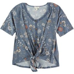 Como Blu Womens Lace Trim Floral Tie Top