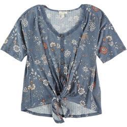 Womens Lace Trim Floral Tie Top