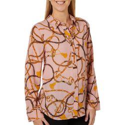Como Blu Womens Chain Print Button Down Long Sleeve Top