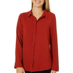 Como Blu Womens Solid Long Sleeve High-Low Top