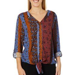 Como Blu Womens Floral Stripe Roll Tab Top