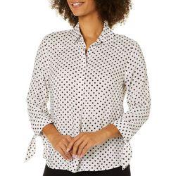 Como Black Womens Geometric Print Tie Sleeve Top