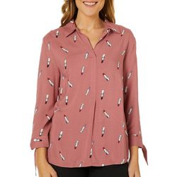 Como Black Womens Lipstick Print Tie Sleeve Top