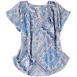 Como Blu Womens Smocked Split Neckline Tiles Top