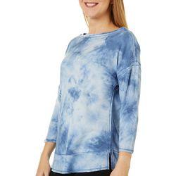 Como Blu Womens Tie Dye Waffle Knit Top