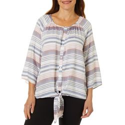 Coral Bay Womens Stripe Print Button Front Top