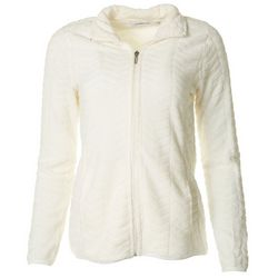 Jason Maxwell Womens Solid Dot Fleece Zip Up Jacket