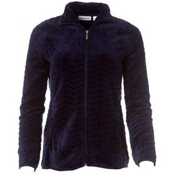 I.B. Difussion Womens Solid Chevron Fleece Zip Up Jacket