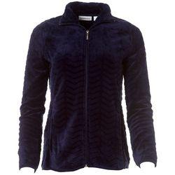 I.B. Difussion Womens Solid Chevron Fleece Zip Up Jacket