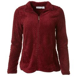 I.B. Difussion Womens Solid Dot Fleece Zip Up Jacket