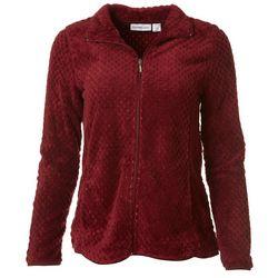 Womens Solid Dot Fleece Zip Up Jacket