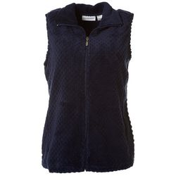 I.B. Difussion Womens Solid Dotted Fleece Zip Up Vest