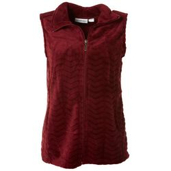 I.B. Difussion Womens Solid Chevron Fleece Zip Up Vest