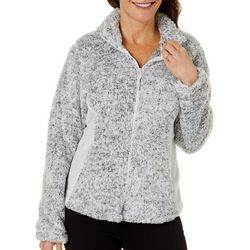 Coral Bay Womens Speckled Print Textured Zip Up Jacket