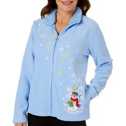 Coral Bay Womens Snowman Embroidered Fleece Jacket