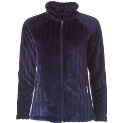 Jason Maxwell Womens Solid Rippled Zip Up Jacket