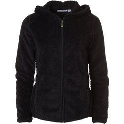 Jason Maxwell Womens Solid Dot Zip Up Hooded Jacket