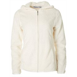 Jason Maxwell Womens Solid Dot Zip Up Hooded Jacket