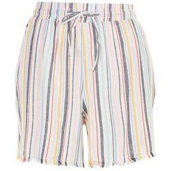 Per Se Womens Frayed Striped Shorts